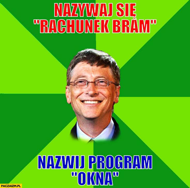 Nazywaj się rachunek bram, nazwij program okna. Bill Gates Windows