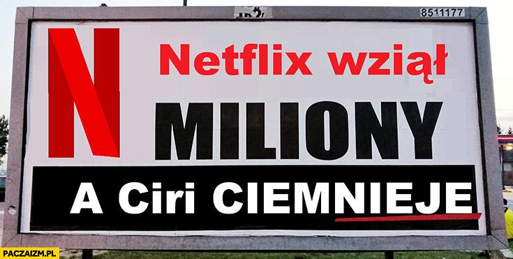 Netflix wziął miliony a Ciri ciemnieje reklama billboard PiS przeróbka