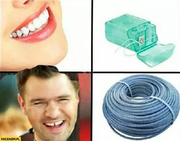 Nić dentystyczna Karolak diastema czyści zęby kablem sznurem