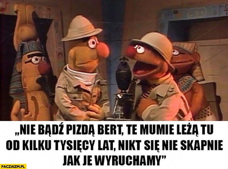 Nie bądź piczą Bert te mumie leżą tu od kilku tysięcy lat, nikt się nie skapnie jak je wydymamy Ernie ulica sezamkowa