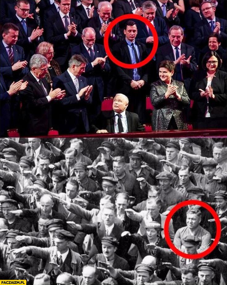 Nie bije brawo Kaczyńskiemu jak buntownik u nazistów