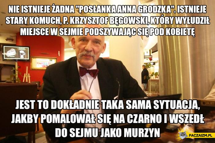 Nie istnieje żadna posłanka Anna Grodzka murzyn Korwin