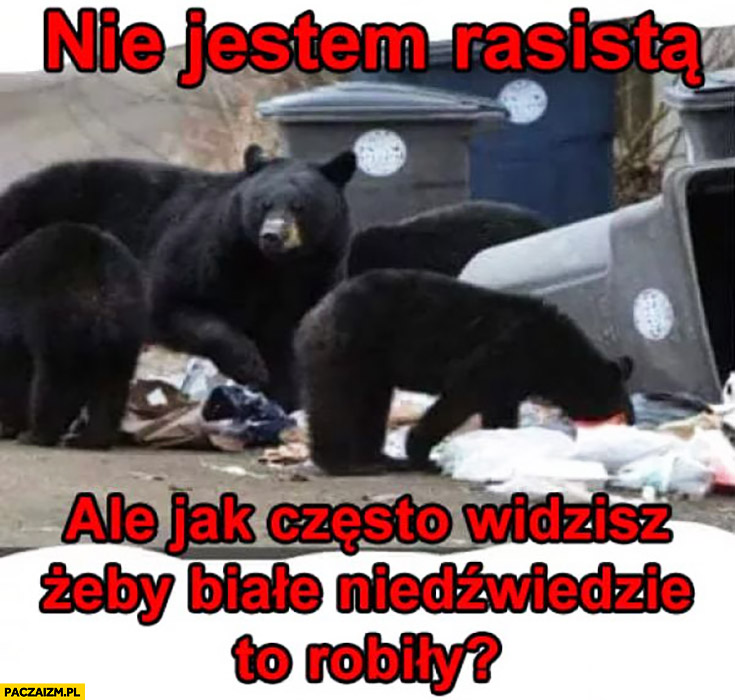 Nie jestem rasistą ale jak często widzisz żeby białe niedźwiedzie to robiły? Grzebią w śmietniku