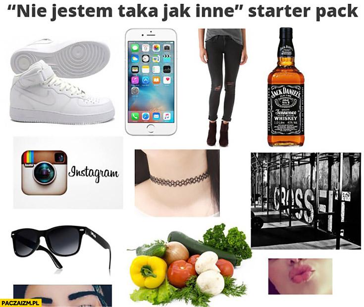 Nie jestem taka jak inne starter pack: iPhone, instagram, Jack Daniels, crossfit, Nike, Rayban