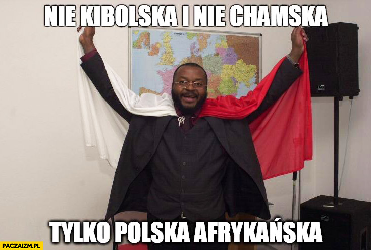 Nie kibolska i nie chamska tylko polska afrykańska Godson z flagą