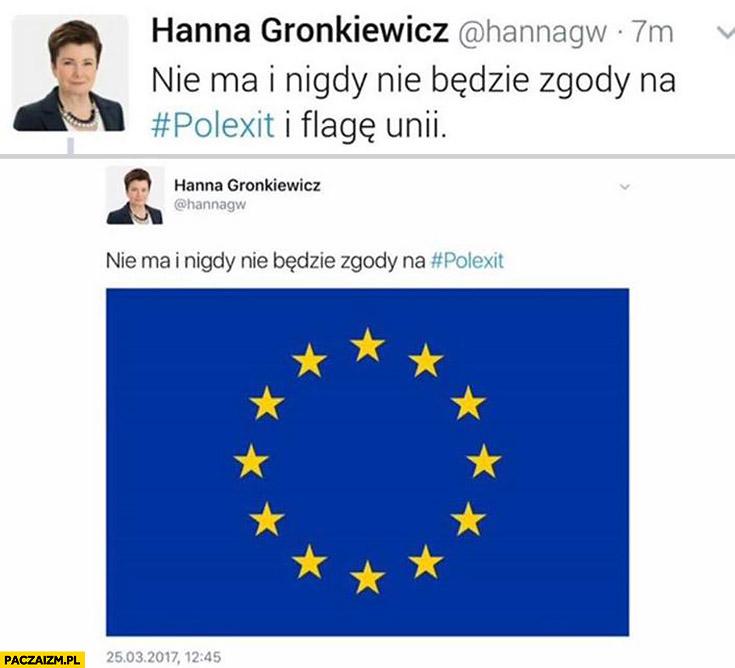 Nie ma i nigdy nie będzie zgody na Polexit i flagę Unii. Gronkiewicz Waltz na twitterze fail