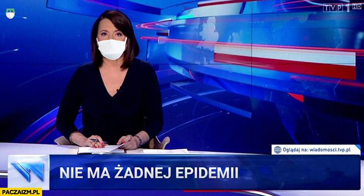 Nie ma żadnej epidemii Wiadomości TVP maseczka na twarzy Holecka