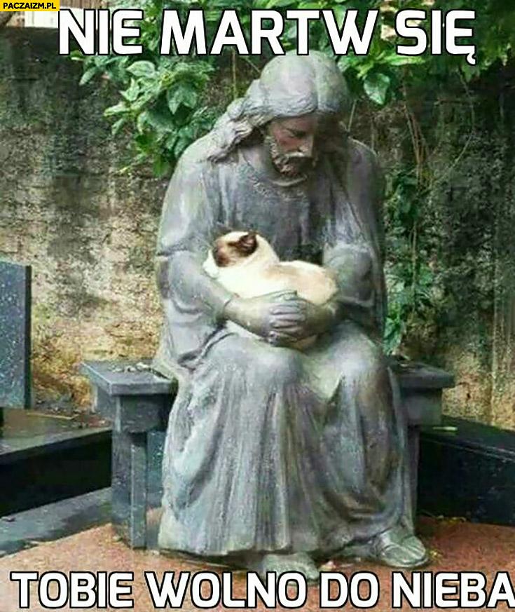 Nie martw się, Tobie wolno do nieba Jezus trzyma kota pomnik posag