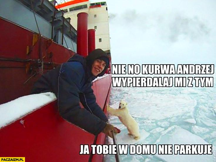 Nie no Andrzej, wypieprzaj mi z tym. Ja Tobie w domu nie parkuję miś niedźwiedź polarny przepycha statek