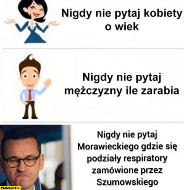 Nie pytaj kobiety o wiek, mężczyzny ile zarabia Morawieckiego gdzie się podziały respiratory zamówione przez Szumowskiego