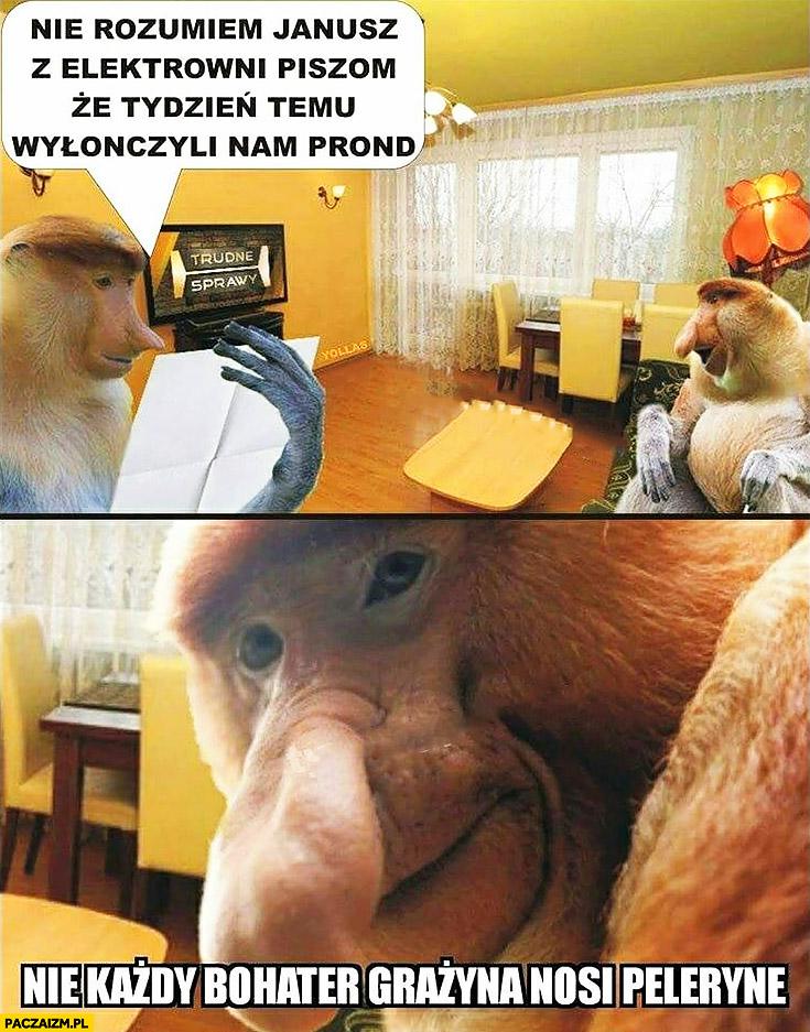 Nie rozumiem z elektrowni piszą, że tydzień temu wyłączyli nam prąd nie każdy bohater Grażyna nosi pelerynę typowy Polak nosacz małpa