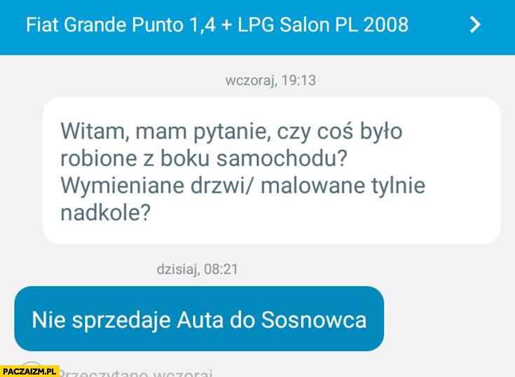 Nie sprzedaję auta do Sosnowca rozmowa na OLX