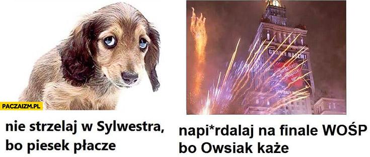 Nie strzelaj w sylwestra bo piesek płacze, napieprzaj na finale WOŚP bo Owsiak każe