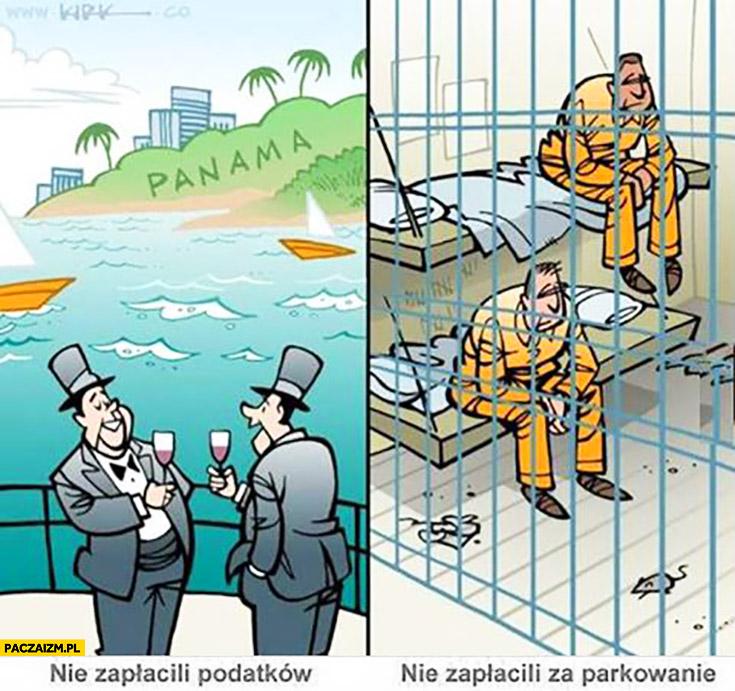Nie zapłacili podatków – bogacze, nie zapłacili za parkowanie – siedzą w więzieniu porównanie