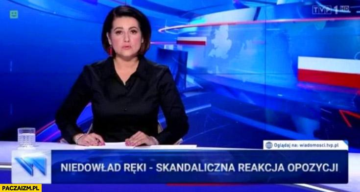 Niedowład ręki Lichockiej, skandaliczna reakcja opozycji pasek wiadomości TVP
