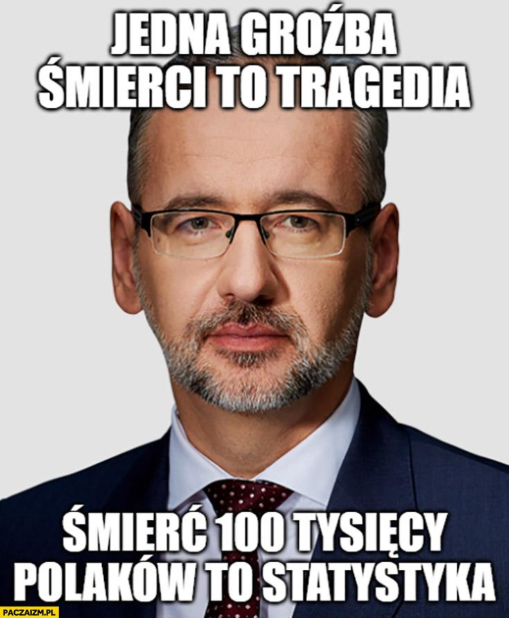Niedzielski jedna groźba śmierci to tragedia, śmierć 100 tysiecy Polaków to statystyka