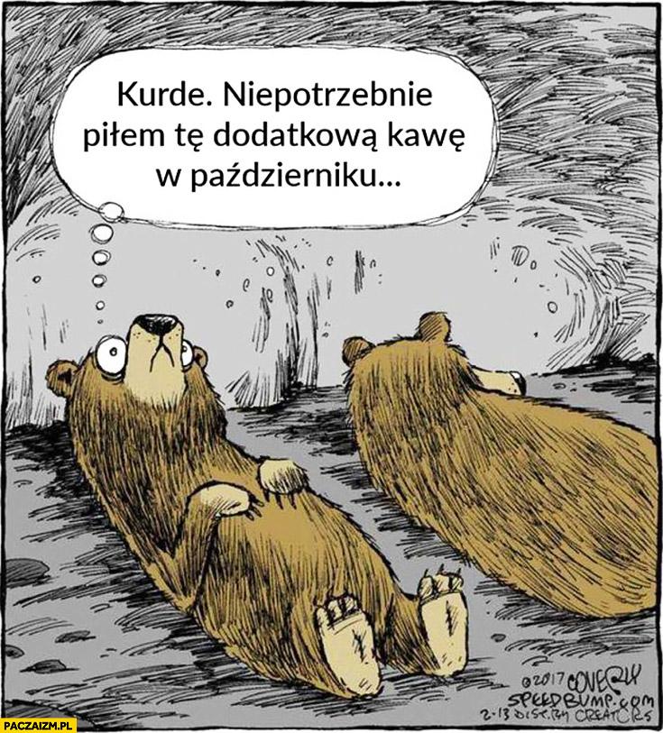 Niedźwiedź sen zimowy kurde niepotrzebnie piłem tę dodatkową kawę w październiku