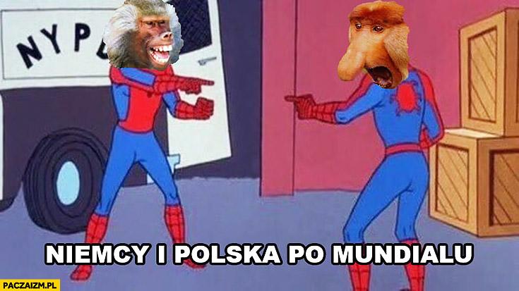 Niemcy i Polska po mundialu małpy Spiderman pokazują na siebie