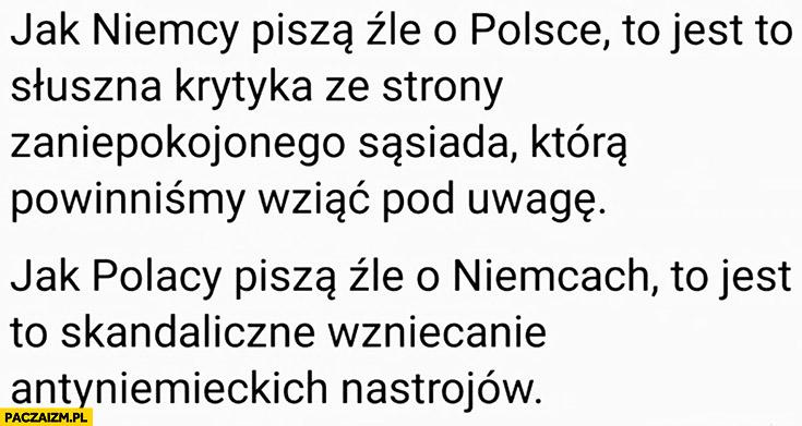 Niemcy piszą źle o Polsce to słuszna krytyka ze strony sąsiada, którą powinniśmy wziąć pod uwagę, jak Polacy piszą źle o Niemcach to skandaliczne wzniecanie antysemickich nastrojów
