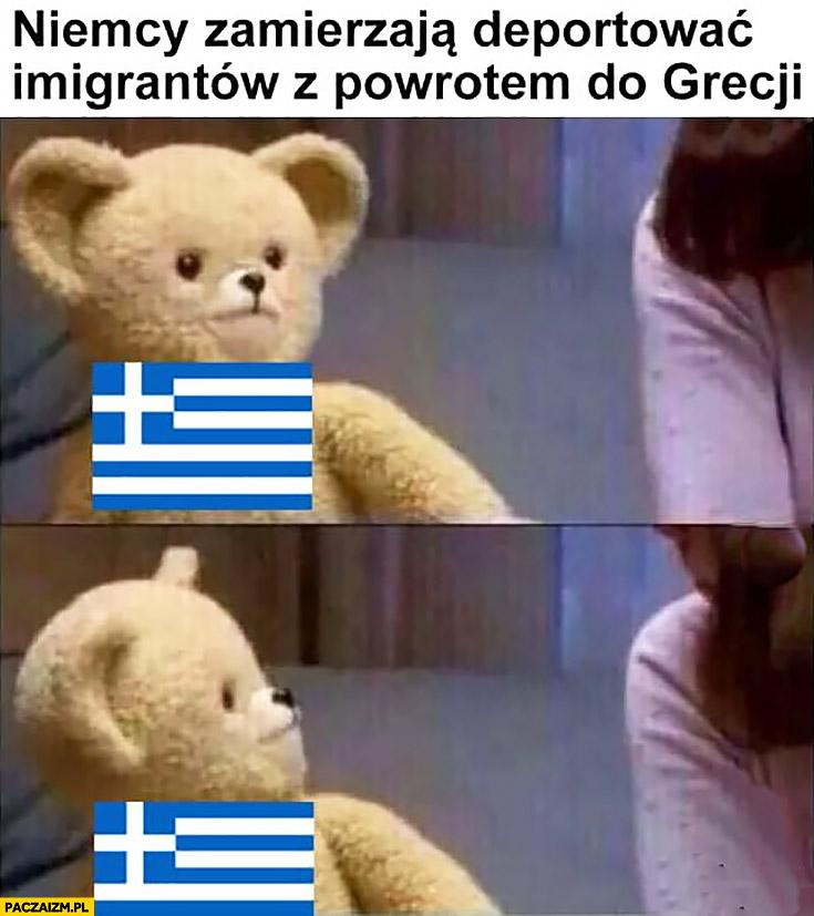 Niemcy zamierzają deportować imigrantów z powrotem do Grecji miś Grecja zdziwiona patrzy