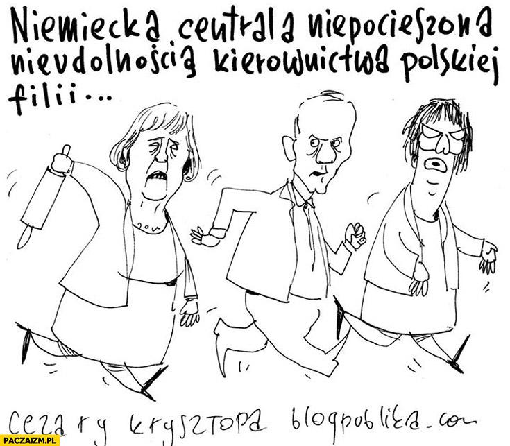 Niemiecka centrala niepocieszona nieudolnością kierownictwa polskiej filii Merkel Tusk Kopacz karykatura