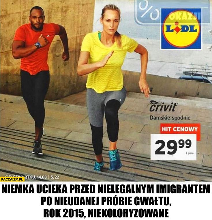 Niemka ucieka przed nielegalnym imigrantem po nieudanej próbie gwałtu, rok 2015 niekoloryzowane reklama katalog Lidl