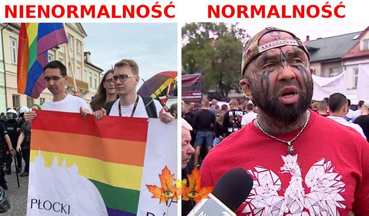 Nienormalność vs Marsz Równości normalność Różalski z tatuażami na twarzy
