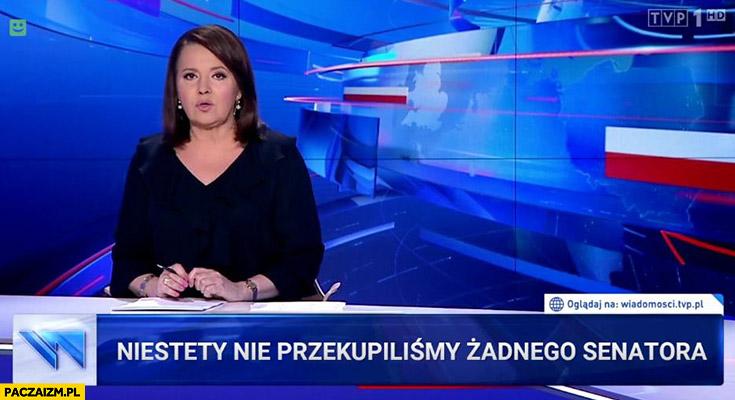 Niestety nie przekupiliśmy żadnego senatora pasek Wiadomości TVP