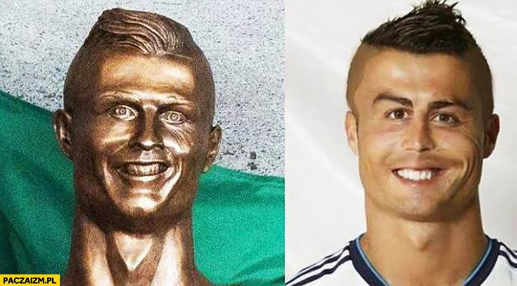 Nieudana rzeźba Cristiano Ronaldo zdeformowana twarz porównanie przeróbka