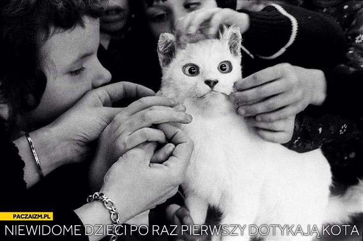 Niewidome dzieci po raz pierwszy dotykają kota