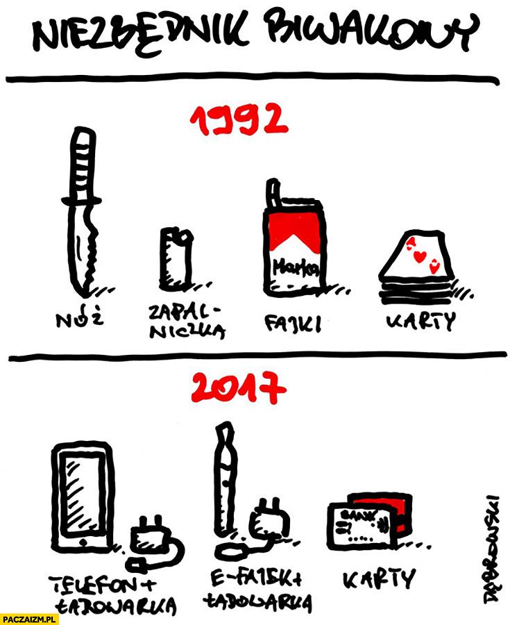 Niezbędnik biwakowy 1992 vs 2017 porównanie: nóż, zapalniczka, fajki karty, telefon, efajka, ładowarki, karty kredytowe