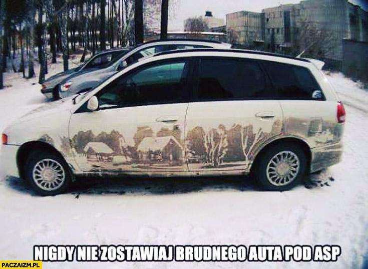 Nigdy nie zostawiaj brudnego auta pod ASP malunek dzieło na boku brudzie