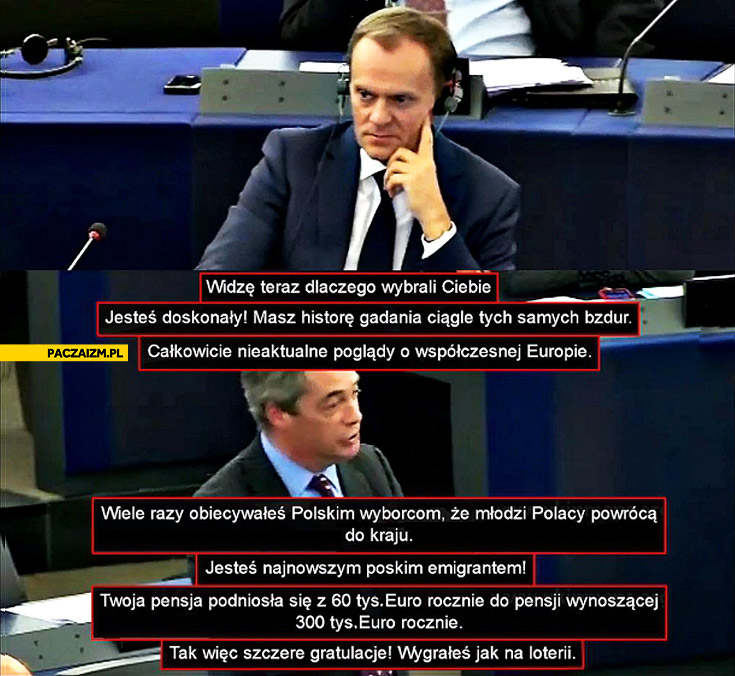Nigel Farage ukip masakruje Tuska Parlament Europejski