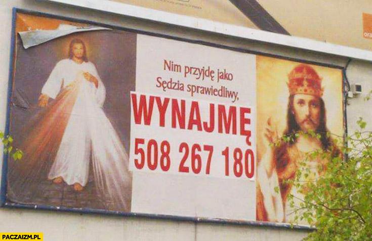 Nim przyjdę jako sędzia sprawiedliwy wynajmę Jezus