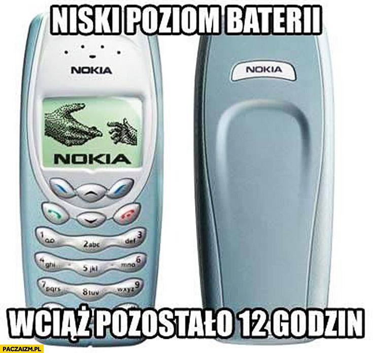Niski poziom baterii wciąż pozostało 12 godzin Nokia 3410