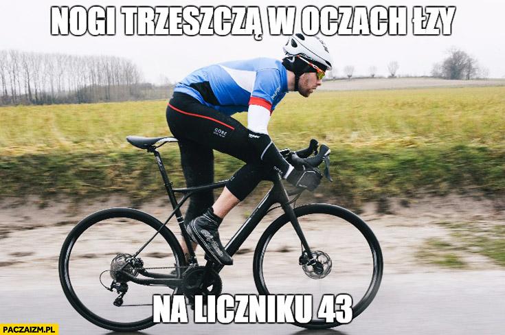 Nogi trzeszczą, w oczach łzy, na liczniku 43 rower rowerzysta