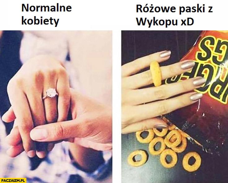 Normalne kobiety – pierścionek zaręczynowy, różowe paski z wykopu – chrupek chipsy zamiast pierścionka
