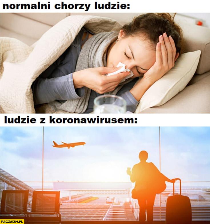 Normalni chorzy ludzie leżą w łóżku, ludzie z koronawirusem podróżują