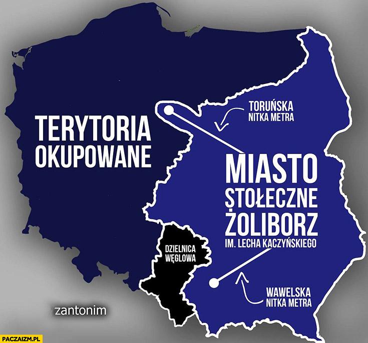 Nowa mapa Polski miasto stołeczne Żoliborz im. Lecha Kaczyńskiego, terytoria okupowane