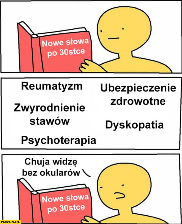 Nowe słowa po 30tce: reumatyzm, dyskopatia, zwyrodnienie stawów, psychoterapia nic nie widzę bez okularów