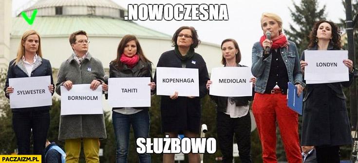 Nowoczesna służbowo sylwester nazwy miast na kartkach protest opozycji