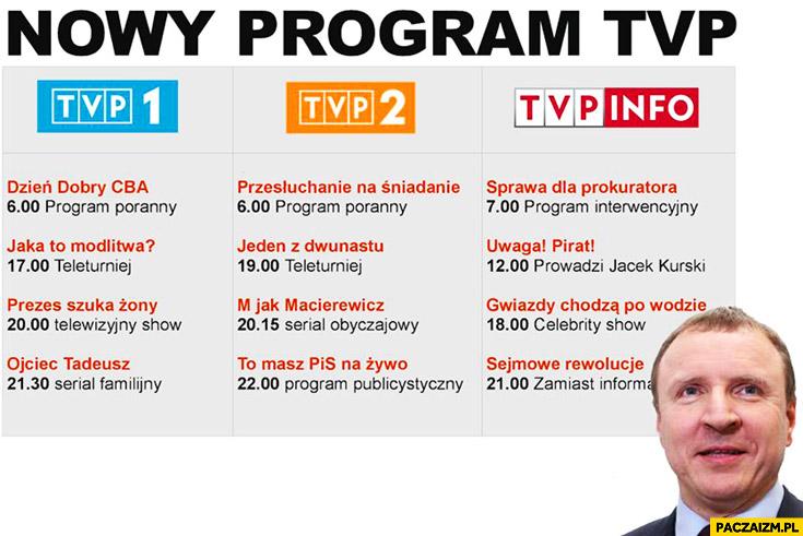 Nowy program TVP Jacek Kurski: dzień dobry CBA, jaka to modlitwa, prezes szuka żony, Ojciec Tadeusz, M jak Macierewicz, To masz PiS na żywo, przesłuchanie na śniadanie