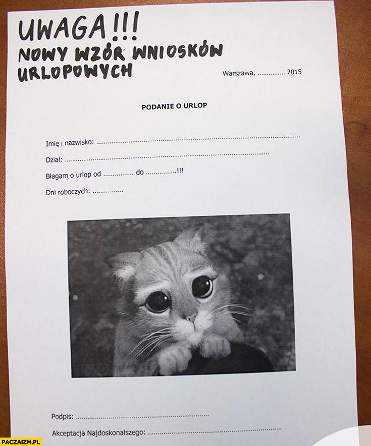 Nowy wzór wniosków urlopowych kot ze Shreka
