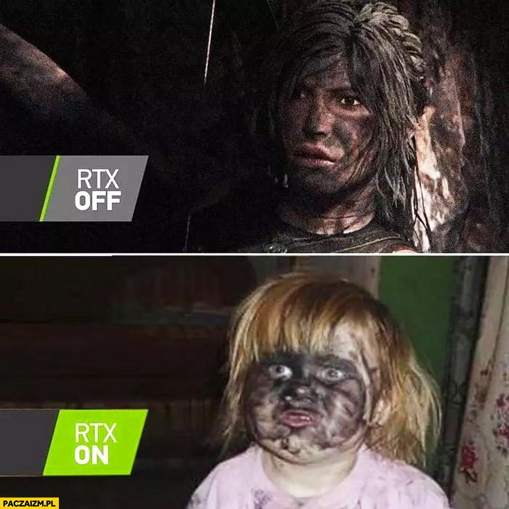 Nvidia RTX off on porównanie dziewczynka z twarzą w węglu