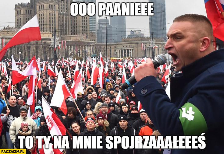 O Panie to Ty na mnie spojrzałeś narodowiec ONR na Marszu Niepodległości śpiewa barkę