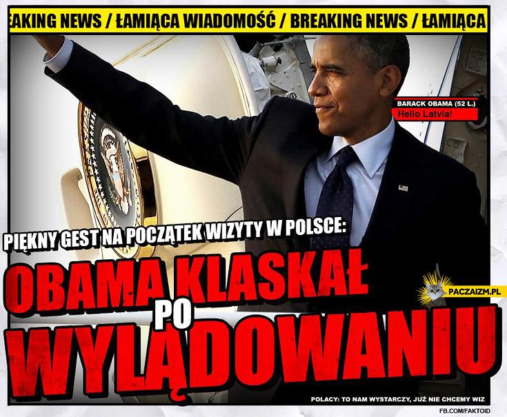 Obama klaskał po wylądowaniu