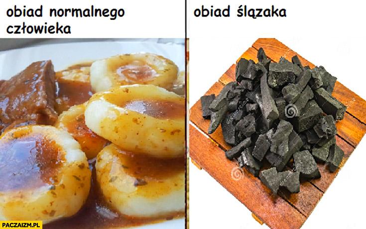 Obiad normalnego człowieka kluski vs obiad Ślązaka węgiel