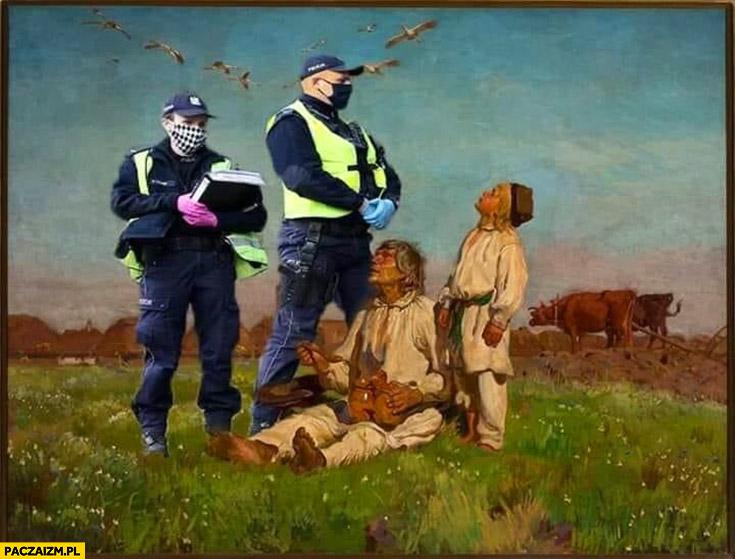 Obraz chłopi na polu policja dorobiona przeróbka