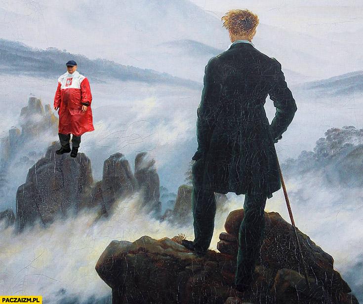 Obraz Kaczyński płaszcz kurtka peleryna przeciwdeszczowa flaga polski przeróbka