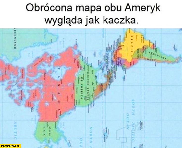 Obrócona mapa obu Ameryk wygląda jak kaczka